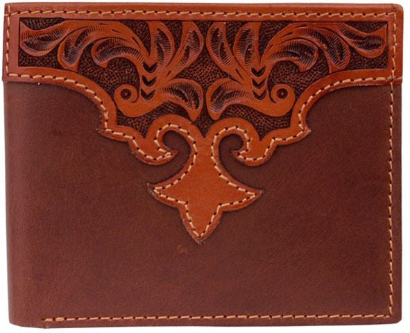 (3DB-W997) Western Tan Tooled Bi-Fold Wallet