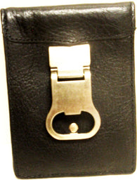 (3DB-W830) Western Black Leather Money Clip with Bottle Opener