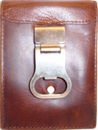 (3DB-W831) Western Brown Leather Money Clip with Bottle Opener