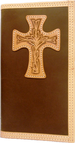 (3DB-WJB092) Western Brown Rodeo Wallet with Natural Cross by Justin