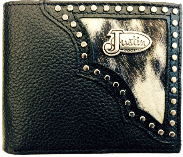 (3DB-WJS155) Justin Black & Hair-On Bi-Fold Wallet