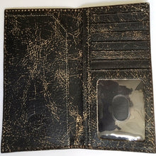 Load image into Gallery viewer, (3DB-WJW080) Justin Western Black Crackled Leather Rodeo Wallet