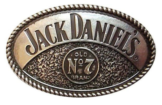 Jack Daniels Old No. 7 Silver Belt Buckle with Rope Edge