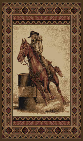 """Barrel Racer"" Western Area Rug - 2 Sizes Available!"