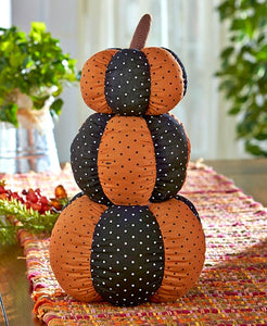 Primitive Country Triple-Stacked Stuffed Pumpkin