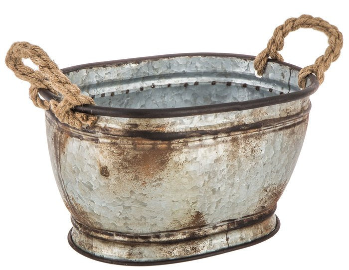 Oval Metal Bucket With Rope Handles 2 Sizes Available Wild West Living