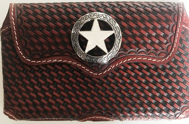 Western Tan Basketweave Cell Phone Holder with Star Concho for iPhone 8 Plus