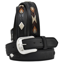 "Load image into Gallery viewer, Men's Western Black 1-1/2"" Belt with Silver Diamond Conchos"