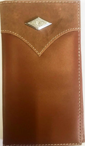 Western 2-Tone Leather Rodeo Wallet with Diamond Shaped Concho