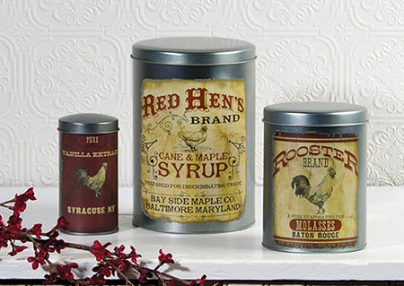 Food Safe Rooster Advertising Tins - Set Of 3