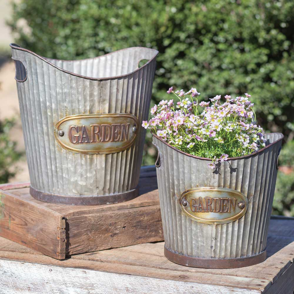 Set of Two Corrugated Metal Tapered Garden Pails
