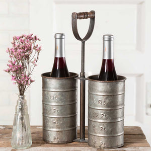 Galvanized Metal Bottle Caddy with Handle