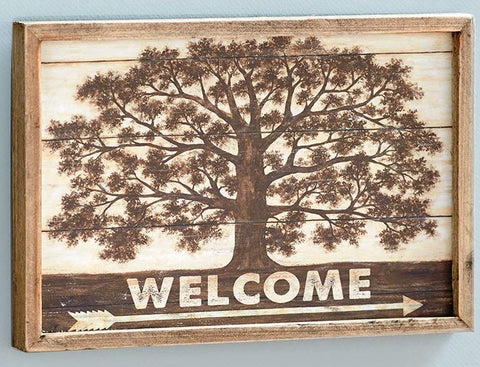 """Welcome"" Shade Tree Country Wall Art"