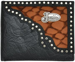 Justin Boots Western Wallet Mens Bifold Inlay Concho - Black/Brown