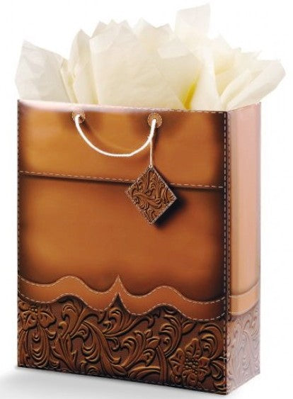 Tooled Leather Look Gift Bag - 2 Sizes