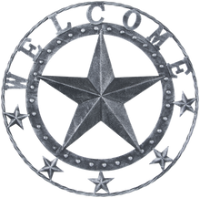 "Load image into Gallery viewer, 18"" Metal Star Welcome Wall Plaque - 2 Finishes Available"