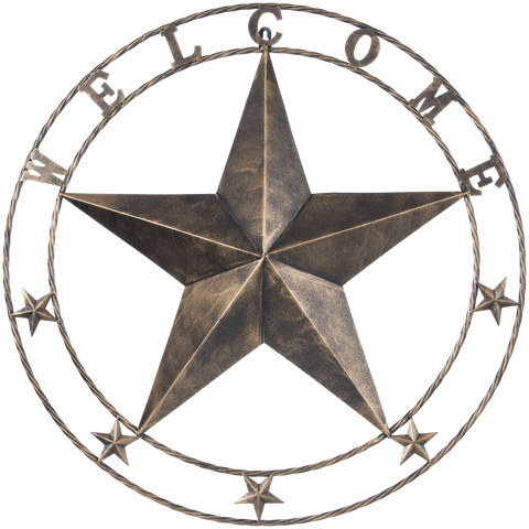 "24"" Metal Star Welcome Wall Plaque - 2 Finishes Available"
