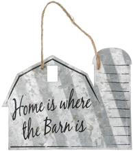 "Load image into Gallery viewer, ""Home is Where The Barn Is"" Corrugated Barn Metal Sign - 2 Sizes"