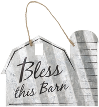 "Load image into Gallery viewer, ""Bless This Barn"" Corrugated Barn Metal Sign - 2 Sizes"