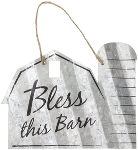 """Bless This Barn"" Corrugated Barn Metal Sign - 2 Sizes"