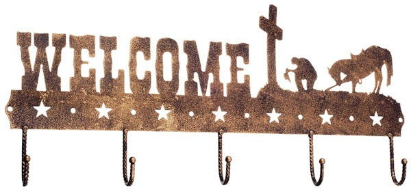 Welcome Wall Hooks with Praying Cowboy