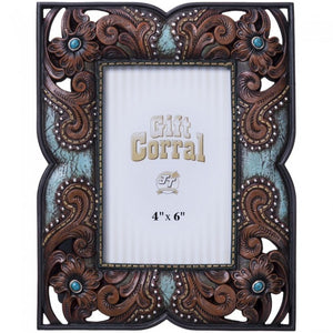 "Floral Leather and Turquoise Photo Frame - 4"" X 6"""