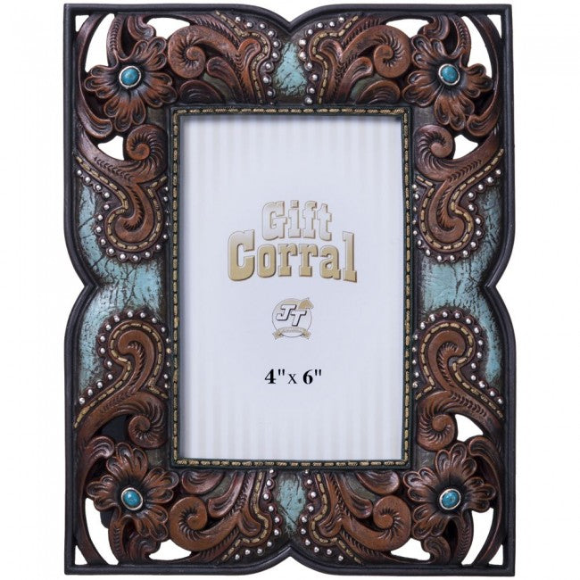 Floral Leather and Turquoise Photo Frame - 4