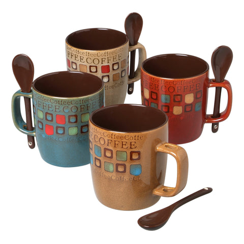 Cafe Americano 13 Oz Mug with Spoon - 4 Colors Available!