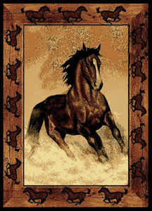 """Stallion Border"" Western Area Rug - 5 x 7"