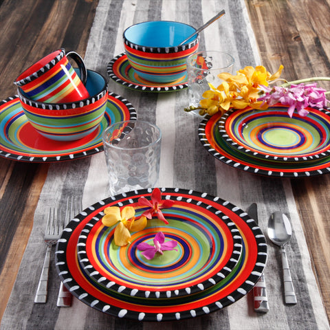 """Pueblo Springs"" Western 16-Piece Dinnerware Set"