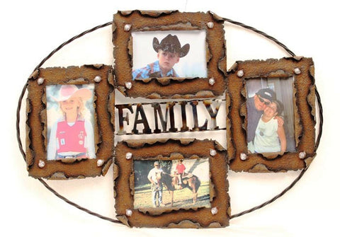 """Family"" Western Wall Photo Frame with Wire Rope"