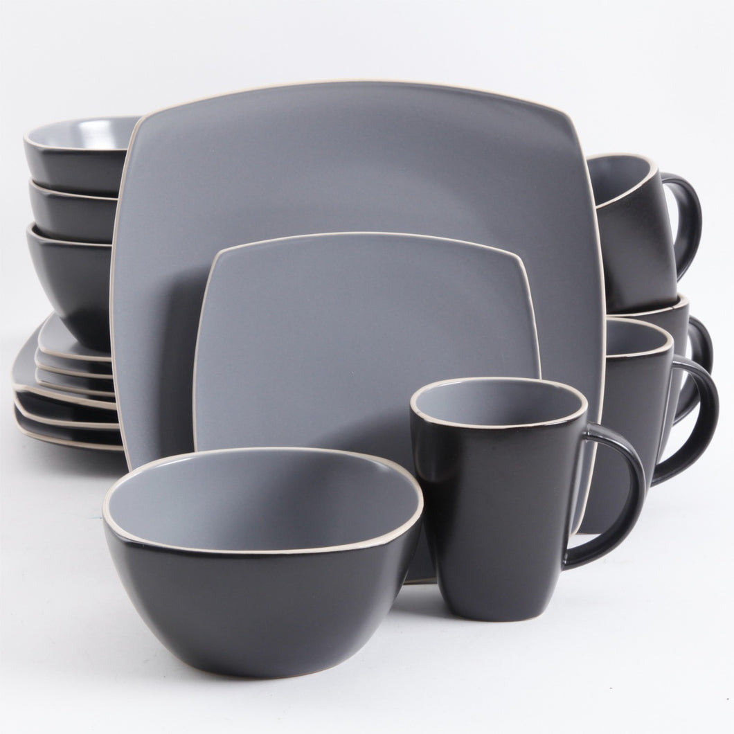 Gray Matte 16 Piece Dinnerware Set