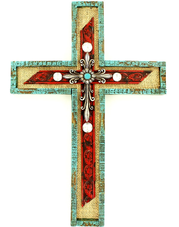 Burlap Wall Cross with Red, Turquoise and Stones