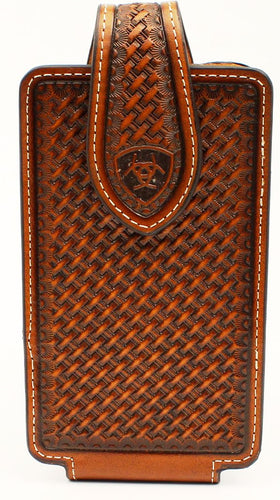 Western Brown Basketweave Cell Phone Holder - Fits iPhone 6/7/8