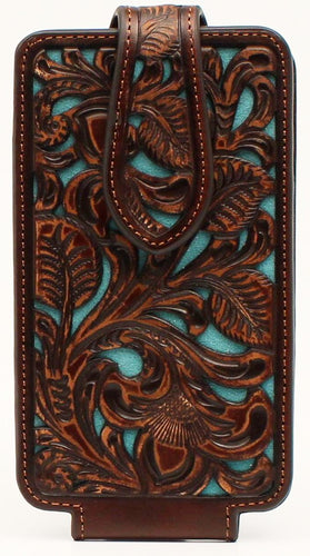 Western Brown Turquoise Underlay Cell Phone Holder - Fits iPhone 6/7/8