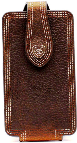 Western Large Brown Triple Stitch Cell Phone Holder for iPhone 6/7/8+