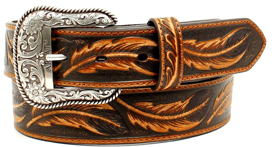 Men's Brown & Black Leaf Patterned Leather Belt