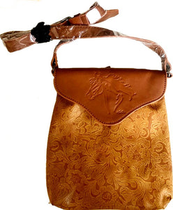 """Hit the Trail"" Tooled Look Crossbody with Embossed Horse"
