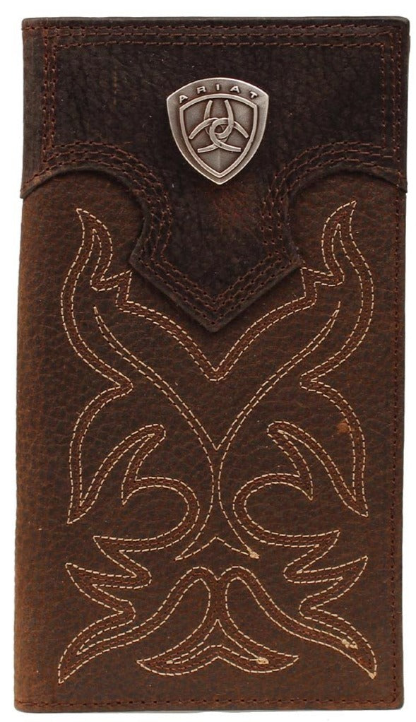 Western Rodeo Wallet with Fancy Stitching and Ariat Shield Concho