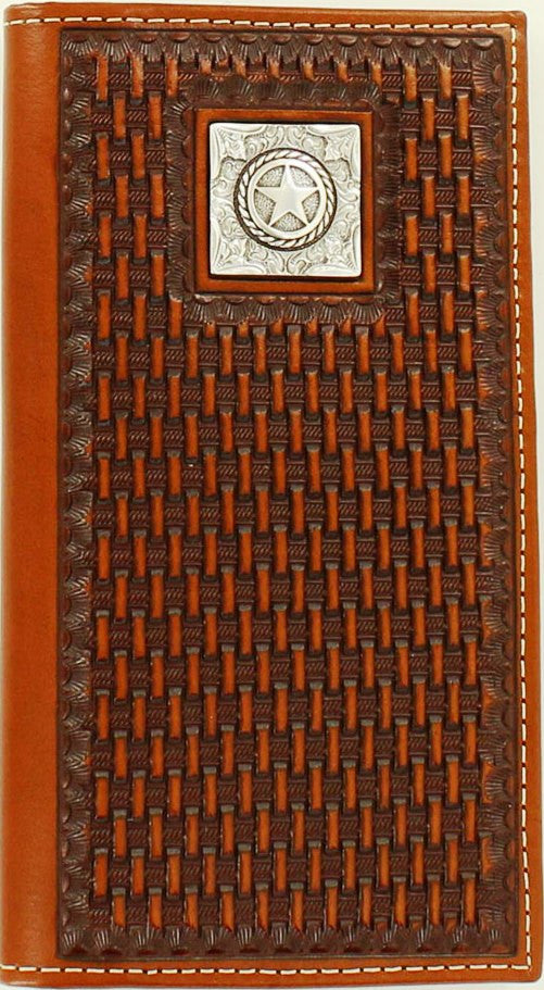 Western Tan Basketweave Rodeo Wallet with Texas Star Concho