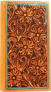 Western Tooled Tan Rodeo Wallet with Turquoise Border
