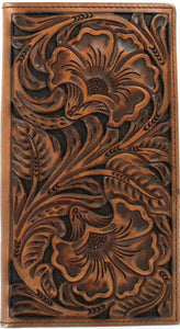 Western Brown Tooled Leather Rodeo Wallet