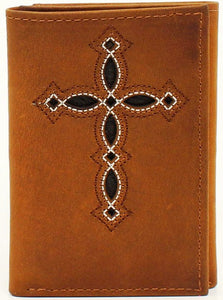 Western Medium Brown Leather Cross Tri-Fold Wallet