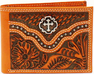 Western Tan Floral Tooled & Basketweave Bi-Fold Wallet with Cross Concho