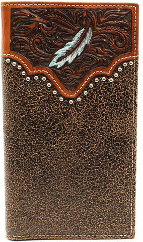 Brown Leather Western Rodeo Wallet with Feather