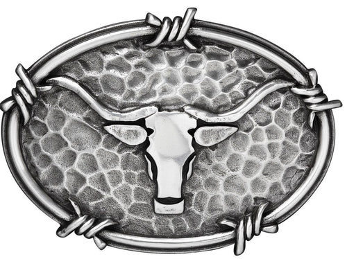 Western Hammered Silver Longhorn Belt Buckle with Barbwire