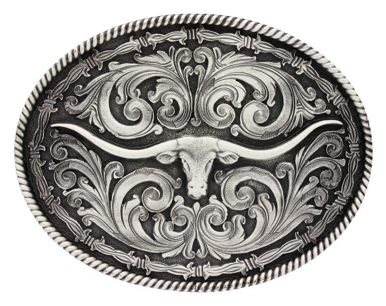 Longhorn Belt Buckle with Roped Edge & Barbwire