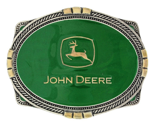 John Deere Two Tone Scalloped Cameo Belt Buckle