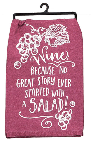 """Salad"" Wine Glass Flour Sack Towel"
