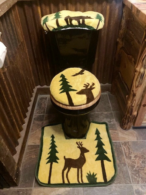 Lodge 3-Piece Toilet Rug Set